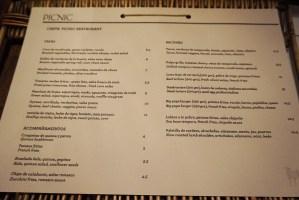 picnic restaurant menu carta y platos