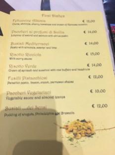 alkimia dei sensi menu