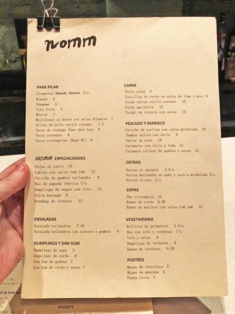 menu nomm restaurante