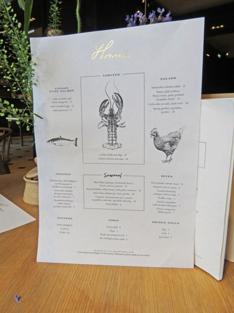 Menu Thoma´s Cafe at Burberry London
