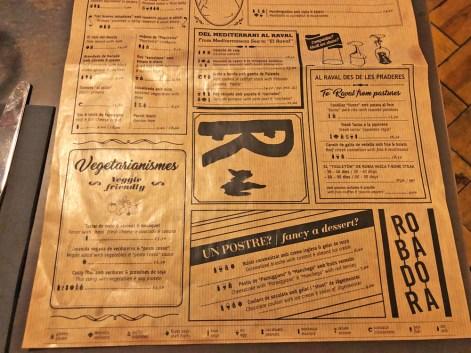 menu Robadora barcelona