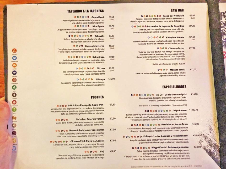menu restaurante hattori hanzo