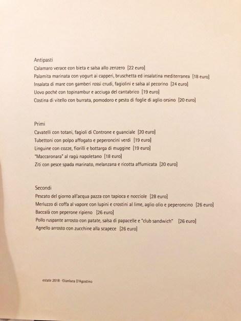 menu veritas napoli ristorante