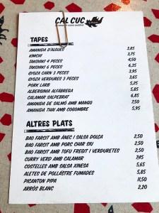 menu cal cuc