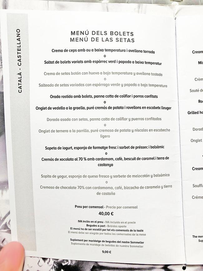 menu degustacion esmarris restaurant sitges