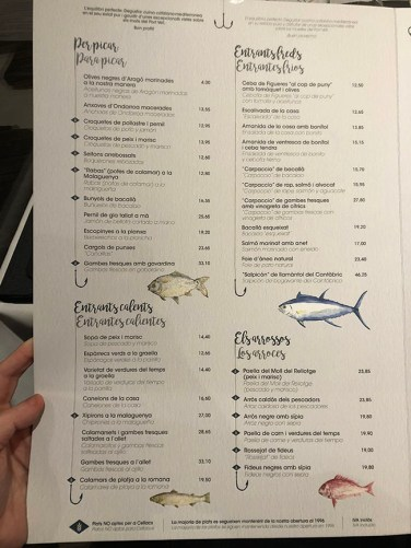menu barceloneta restaurante