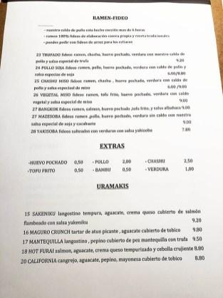 menu restaurante lamian barcelona