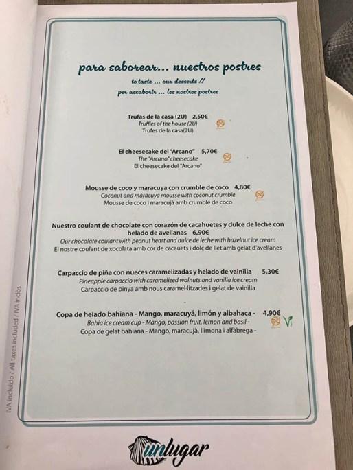 menu unlugar restaurante castelldefels