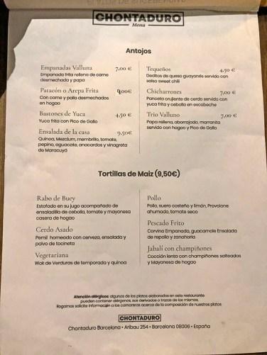 menu restaurante Chontaduro