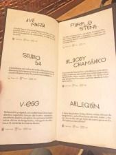 menu restaurante artte