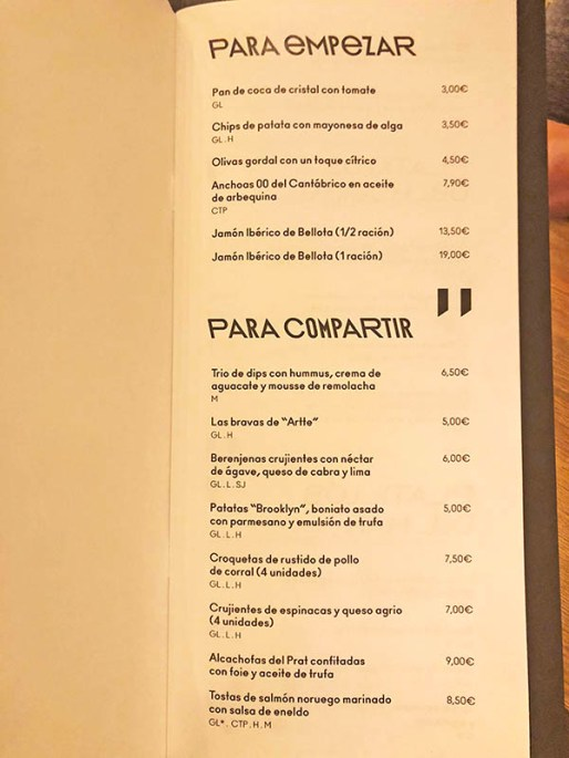 menu restaurante artte
