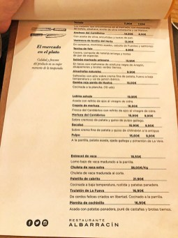menu restaurante parrilla albarracín zaragoza