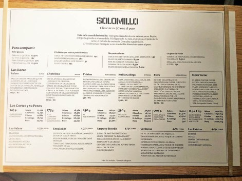 menu carta restaurante solomillo barcelona
