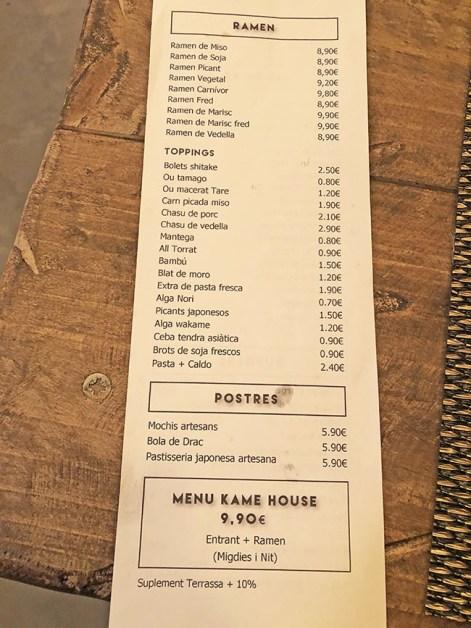menu kame ramen