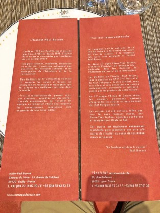 menu l'institut restaurant en lyon