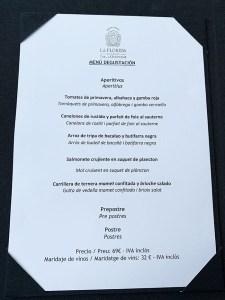 menu degustación les terrasses gran hotel la florida
