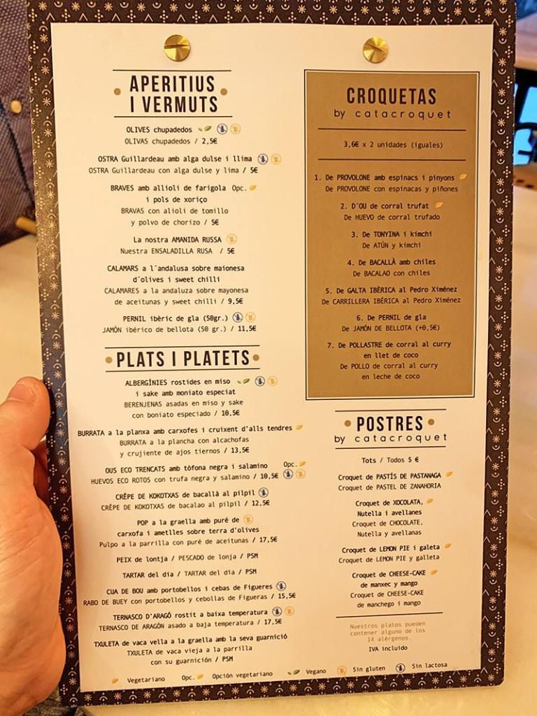 menu cata born by catacroquet