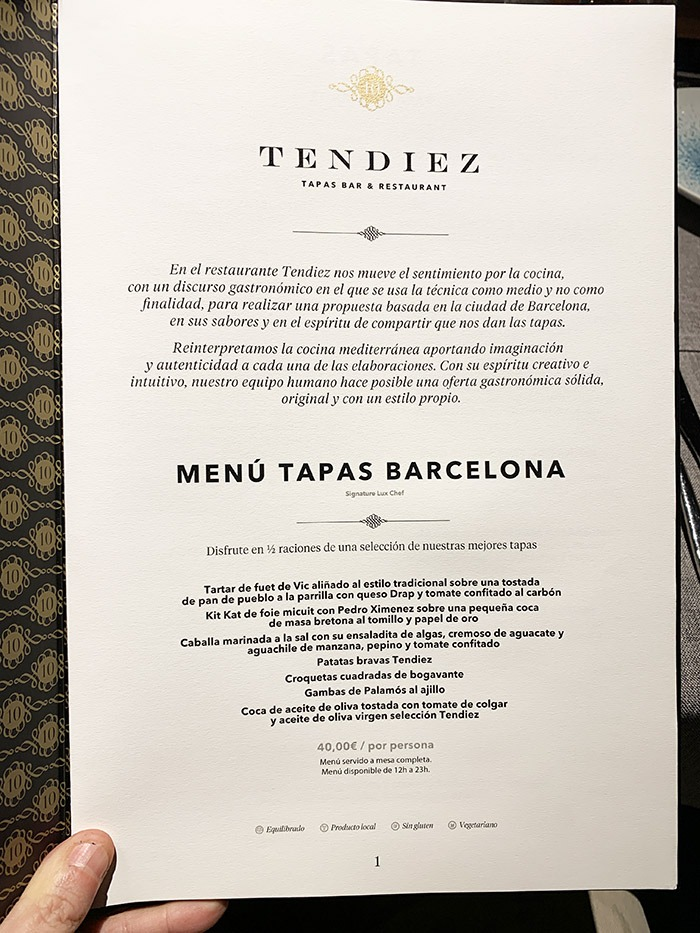Menu Tendiez Restaurante