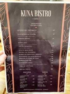 menu kuna bistro