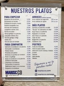 menu marisco corsega barcelona
