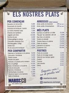 menu mariscco corsega barcelona