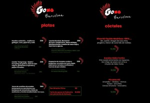 Carta y Menú de GoXO Barcelona.