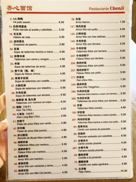 carta chen ji restaurante barcelona