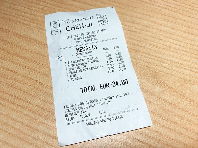 menu del día restaurante chen ji