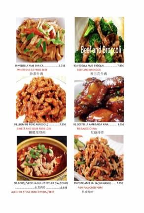 Menu de Cuina Xinesa Tradicional en Barcelona
