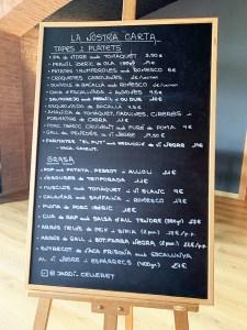 Menu Restaurante El Celleret