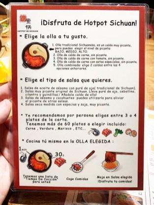 Carta Hot pot de Sichuan Barcelona