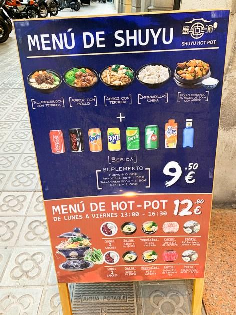 Menu Shuyu Hot Pot