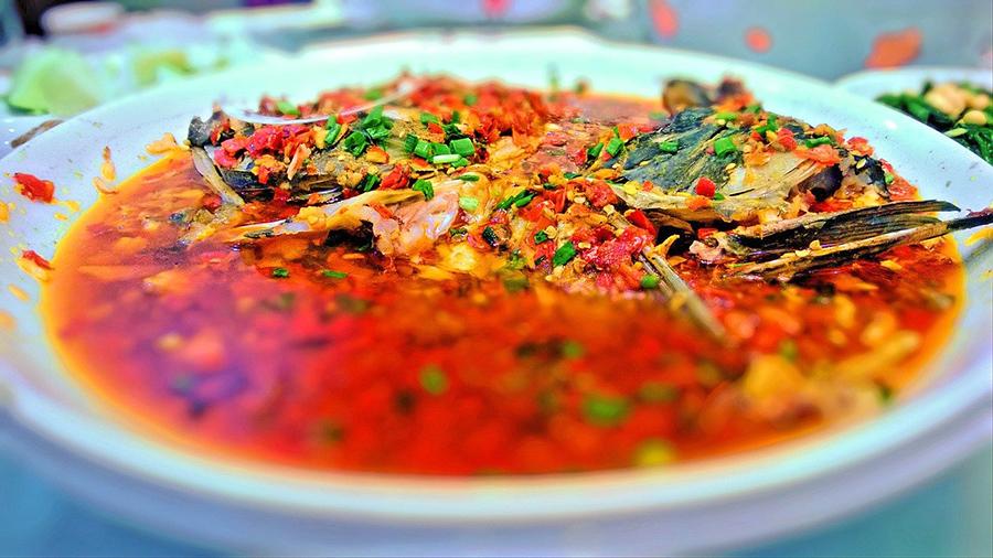 Plato de pescado gastronomía de Hunan