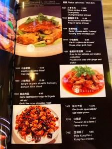 Carta Restaurante Chengdu