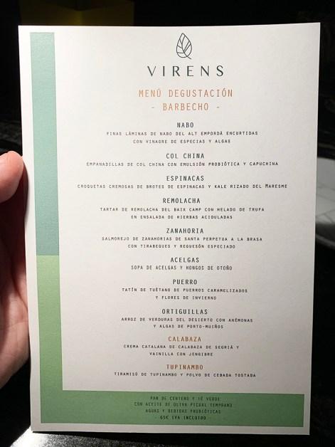 Menú Degustación Restaurante Virens Barcelona