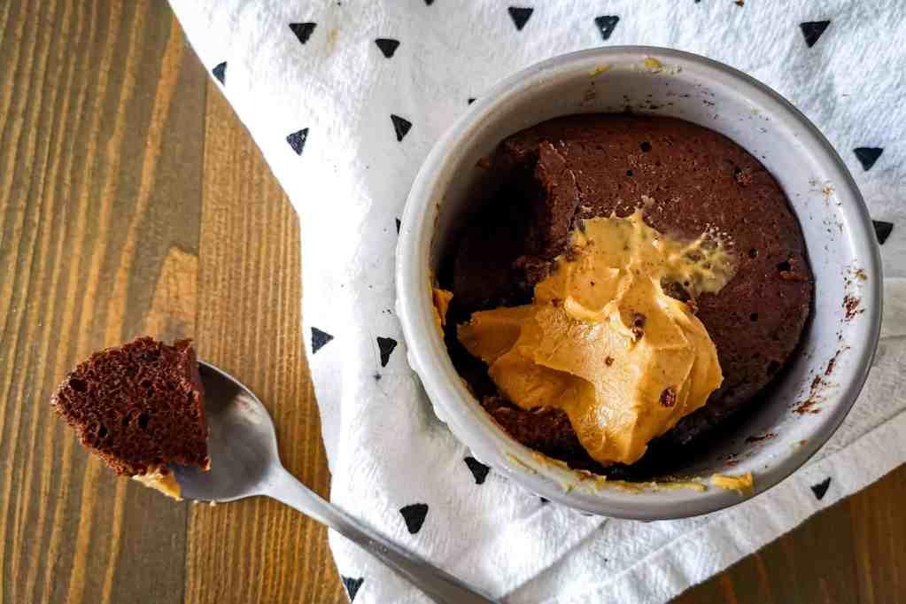 Keto Mug Brownie with peanut butter
