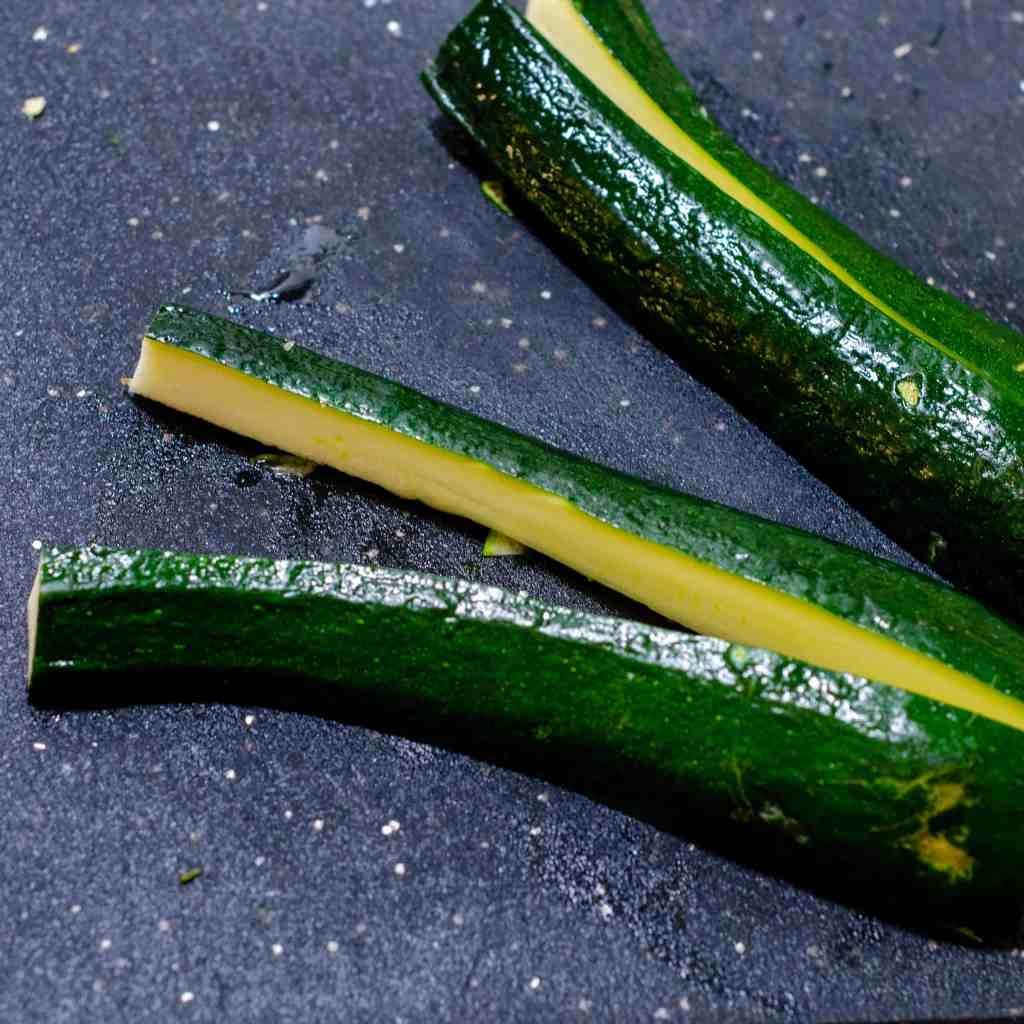 Quarters zucchini for low carb zucchini bhaji