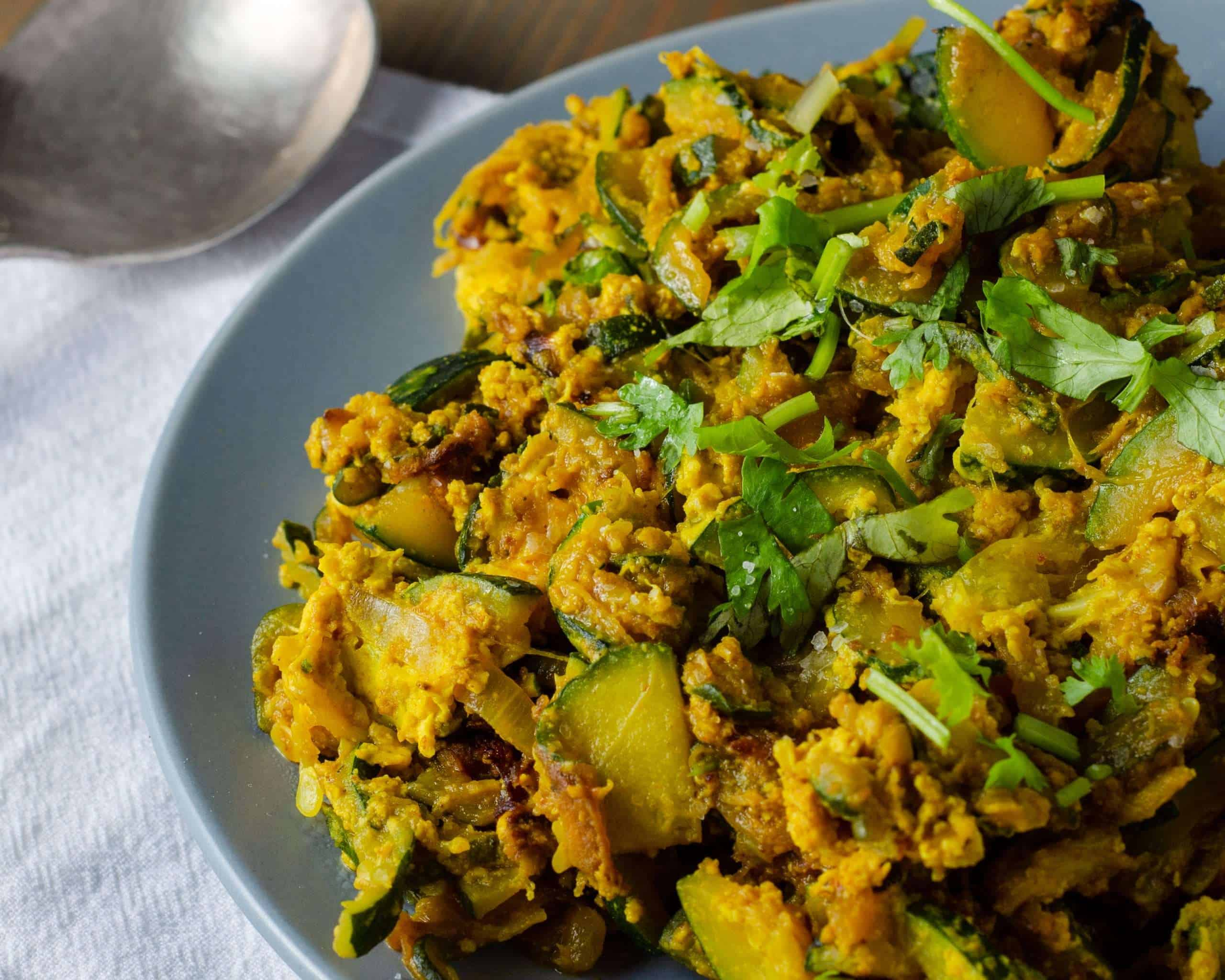 Low Carb Zucchini and Egg Bhaji