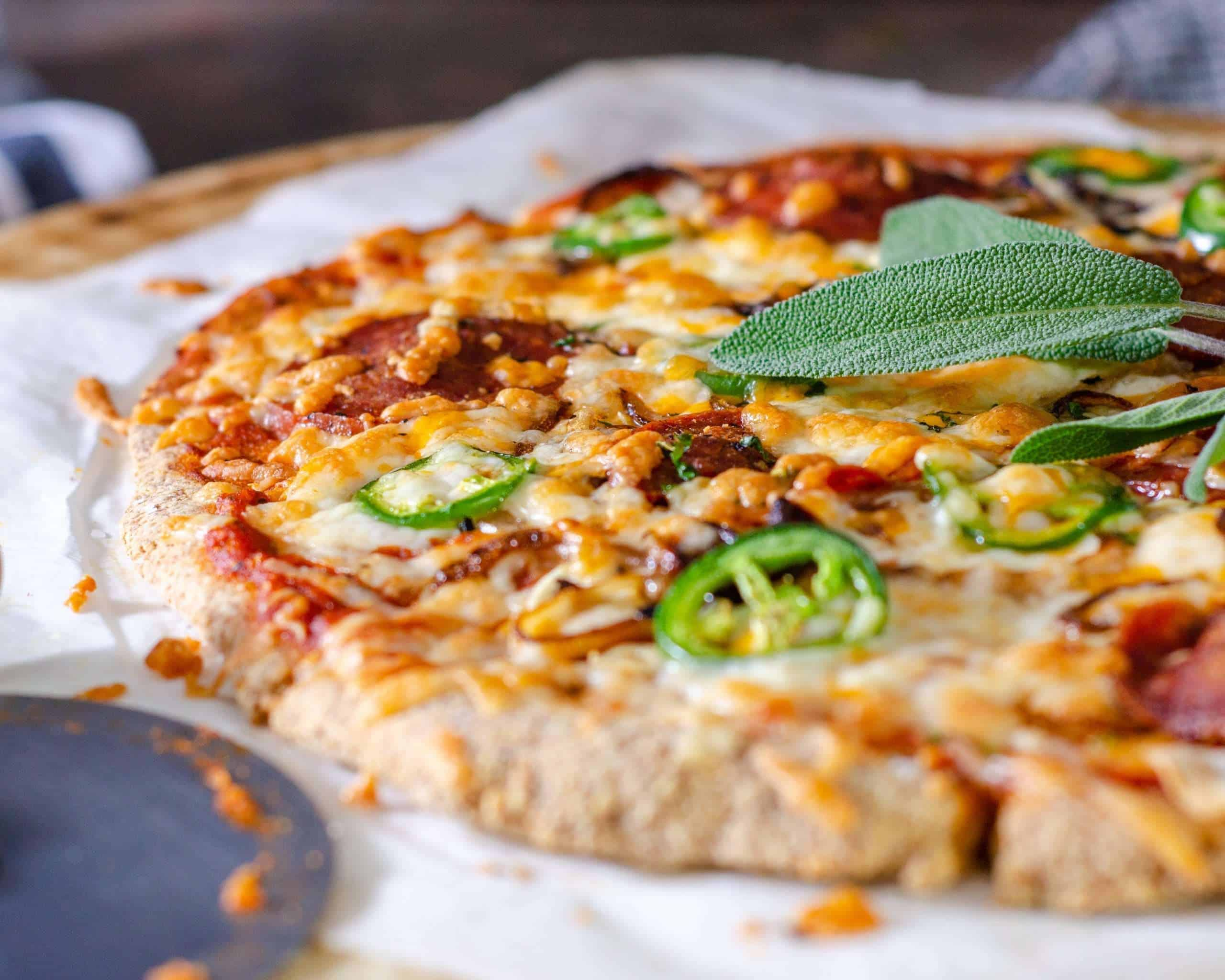 Low carb pizza fresh from the oven