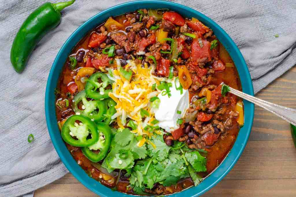 Low Carb Chili Garnished in a Bowl