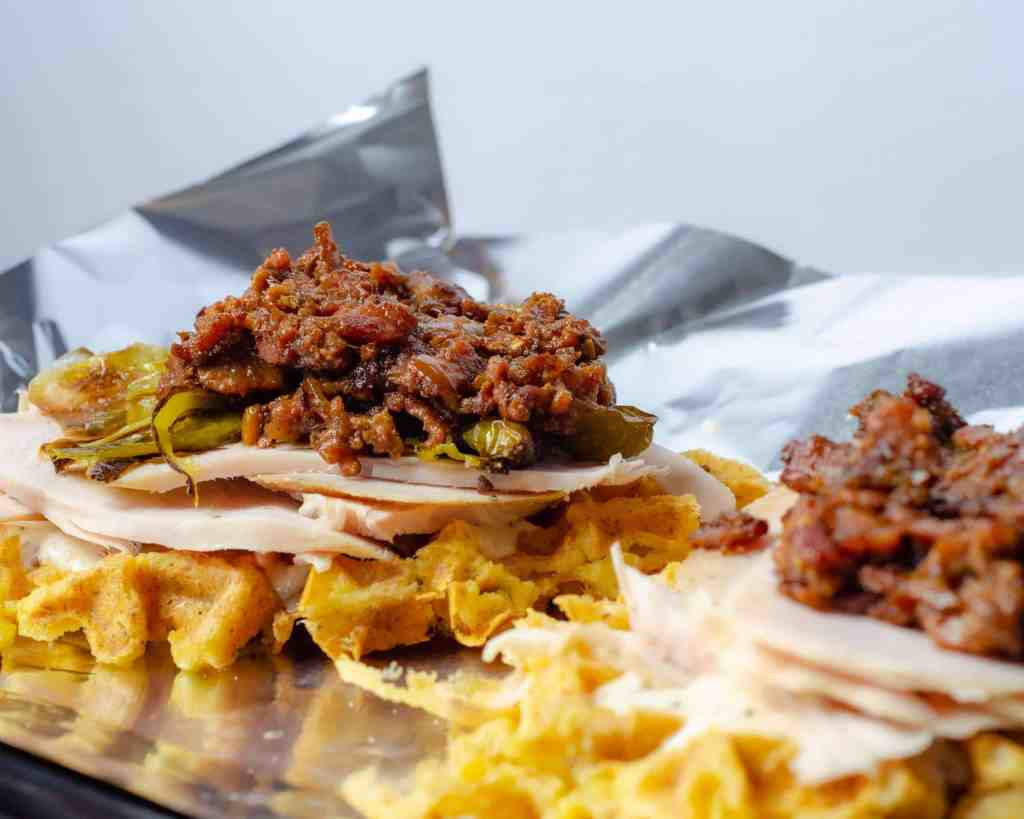 Open Faced Turkey melts with bacon jam on a chaffle