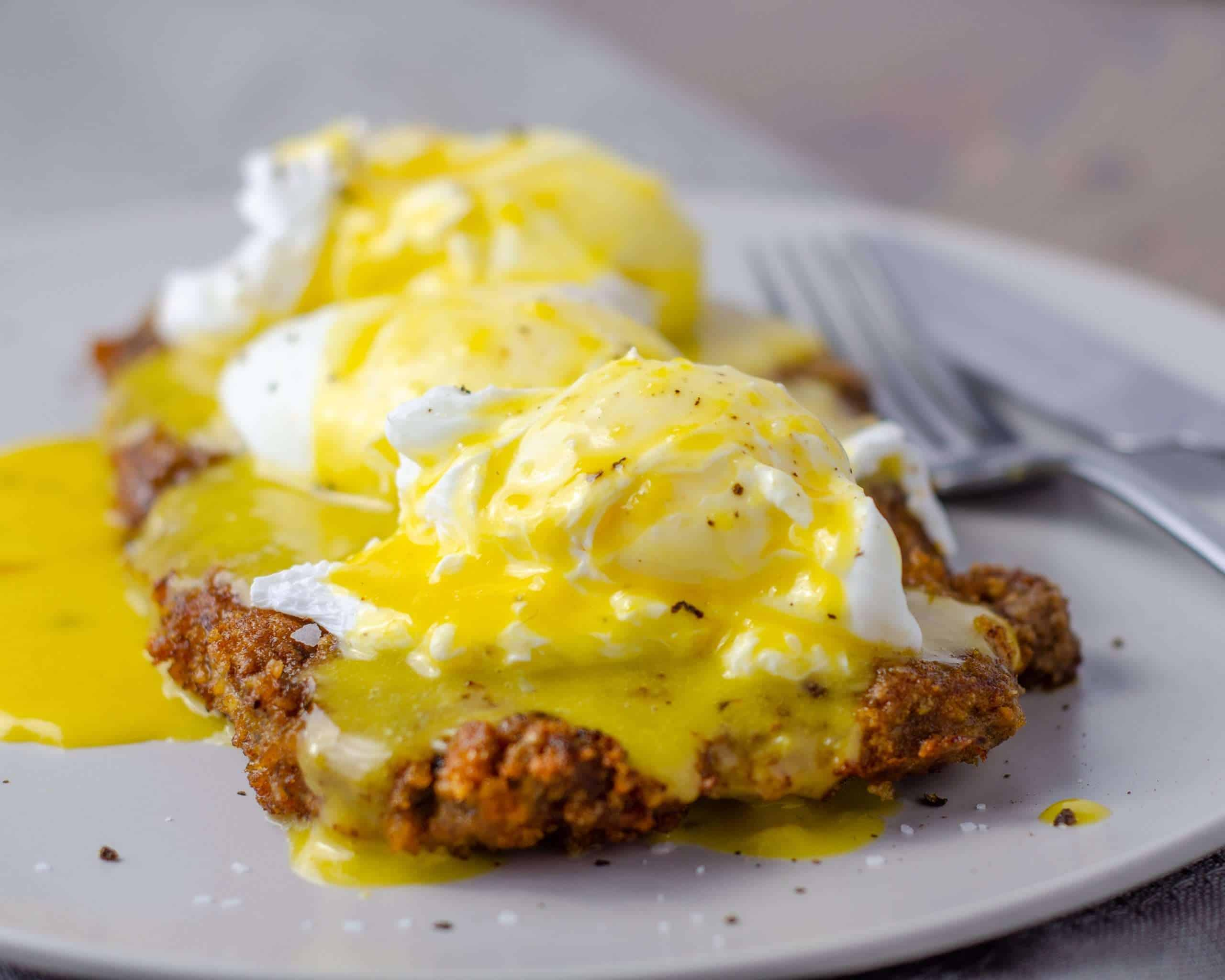 Country Fried Steak with Poached Eggs and Hollandaise