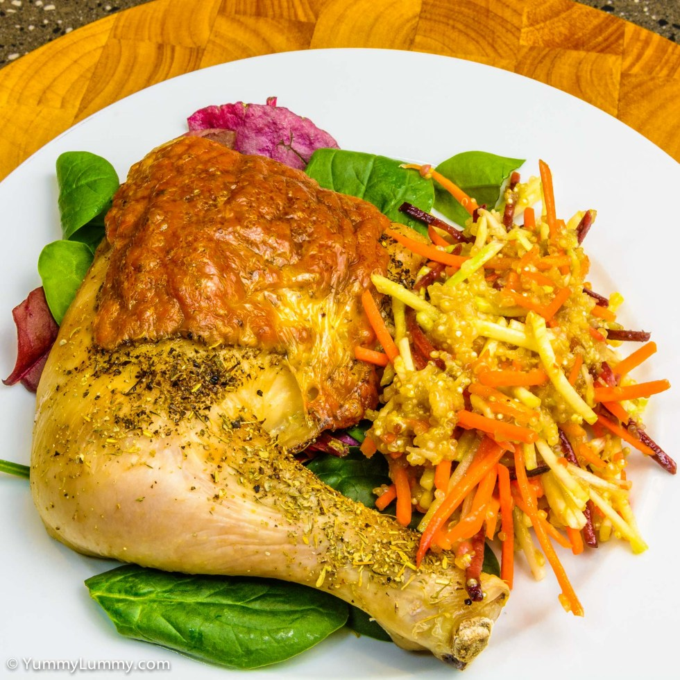 Cheesy Chicken Maryland with quinoa coleslaw