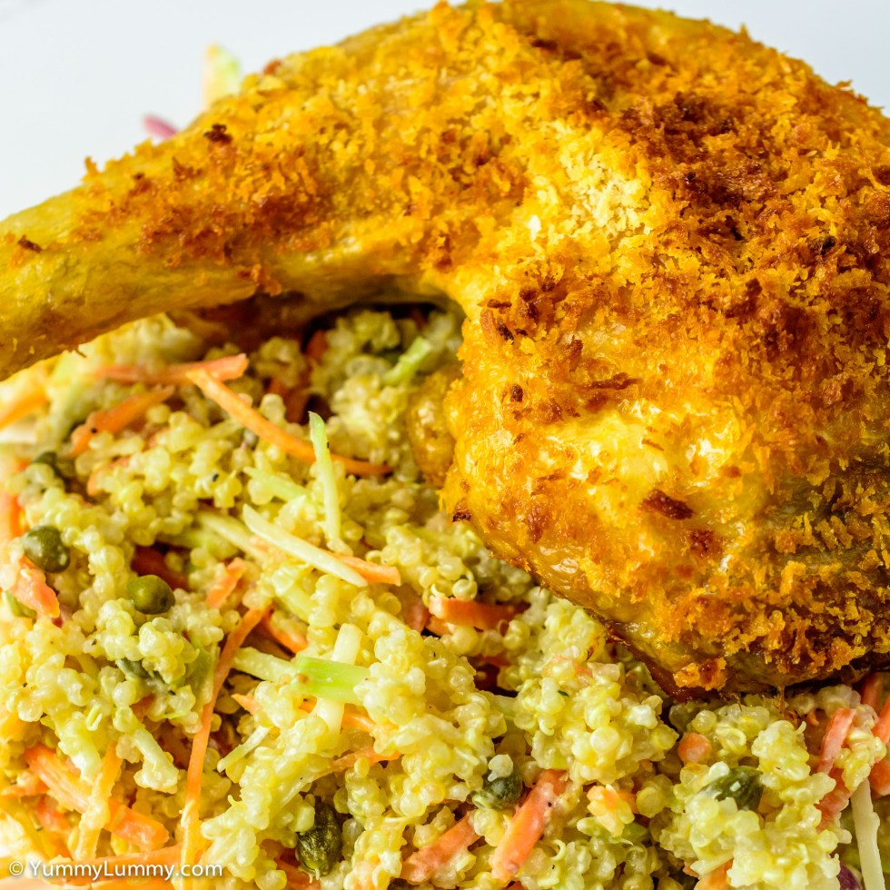 Chicken Maryland served with quinoa mixed in with beetroot coleslaw and capers | Close up