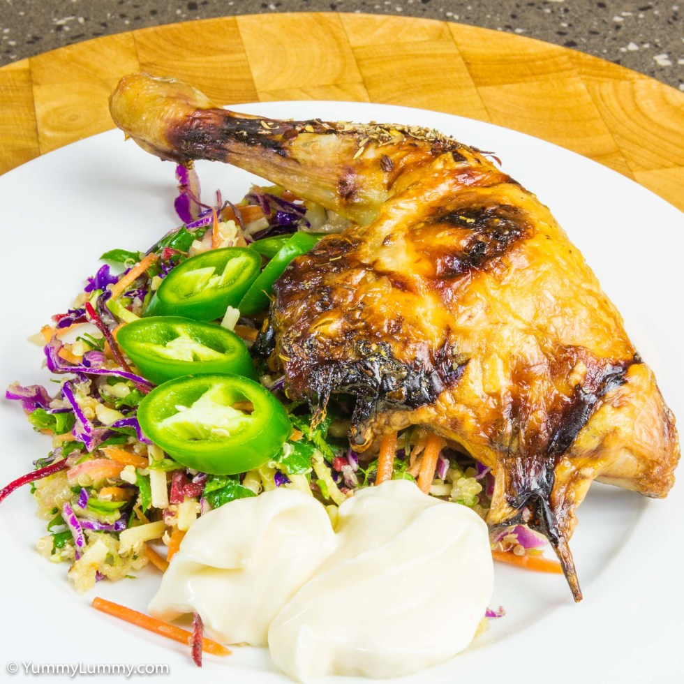 Delicious roasted Chicken Maryland with kale coleslaw, grated cheese and jalapeño pepper