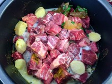 Slow cooker beef curry before cooking