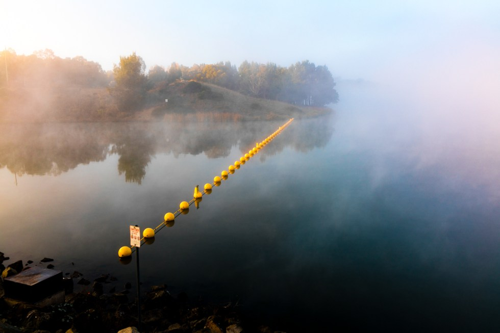 A line of buoys on Lake Ginninderra on a foggy misty Saturday morning