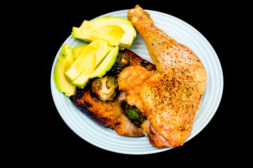 Chicken Maryland with Brussels sprouts and avocado