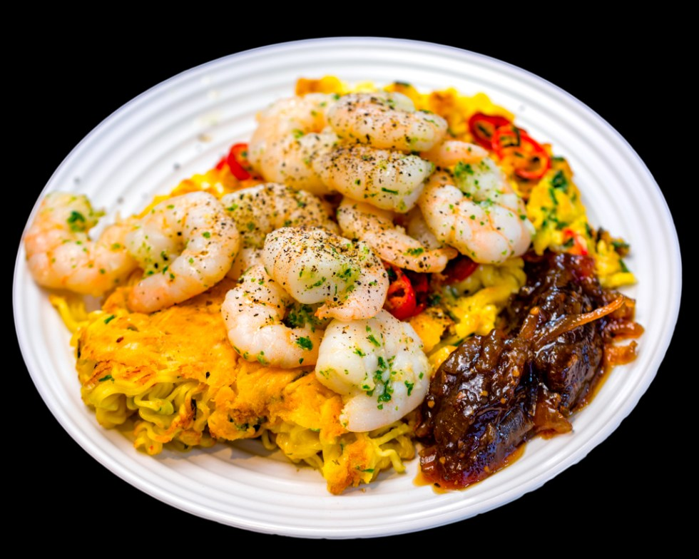 Crispy fried ramen noodles with garlic prawns, chilli and caramelised onion