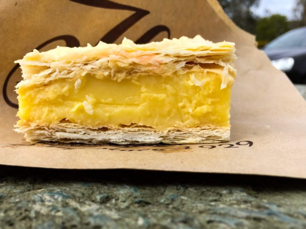 "Hides Bakery Vanilla slice at a rest stop midway between Wangaratta and Wodonga at 36°13'12"" S 146°26'42"" E road trip to Bendigo"